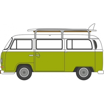 Oxford Diecast VW Bay Window Bus With Surfboards Lime Green/White