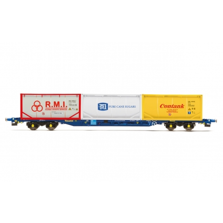 Hornby R6957 Tiphook KFA Container wagon 93437 with 3 x 20 tanktainers  Contank/RMI/Tate & Lyle1