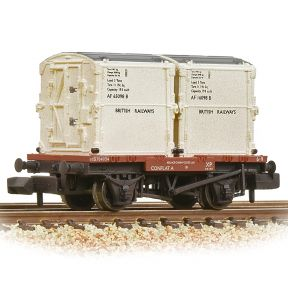 Graham Farish 377-340B Conflat Wagon BR Bauxite Early With 2 BR White Containers