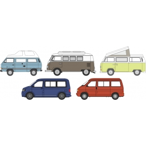 Oxford Diecast 5 Piece VW Camper Set T1