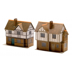 Superquick B28 OO Gauge Two Elizabethan Cottages Card Kit