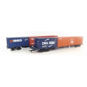 Dapol B913A OO Gauge FEA-B Container Twin Wagon GBRf 640623 & 640624 With Container Load