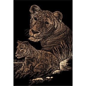 Lioness and Cub Engraving Art