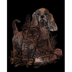 Kitten & Puppy Engraving Art