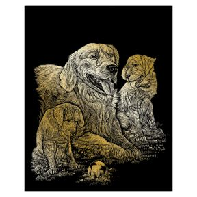 Golden Retrievers Engraving Art