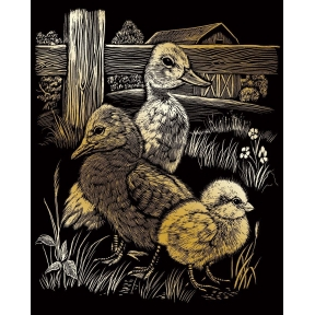 Hatchlings Gold Engraving Art
