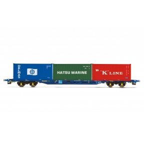 Hornby R6958 Tiphook KFA Container wagon 93390 with 3 x 20 containers  Delmas/Hatsu/K Line1