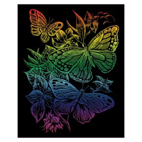 Butterflies Rainbow Engraving Art