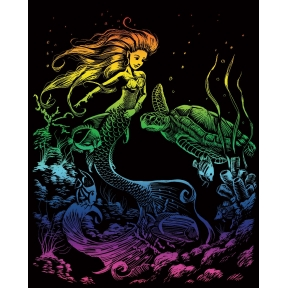 Mermaid Rainbow Engraving Art