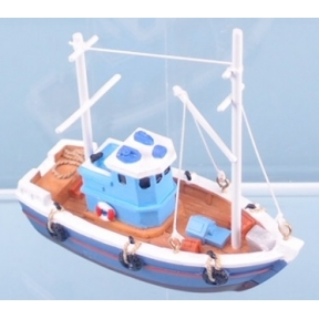 Fishing Boat - 10cm (Red & Blue)