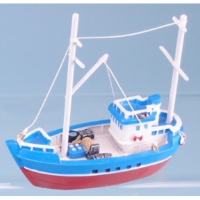 Fishing Boat - 10cm (Blue Hull with Red Stripe)