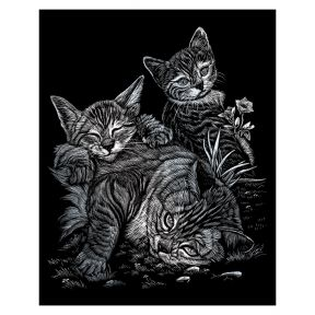 Tabby Cat & Kittens Silver Engraving Art