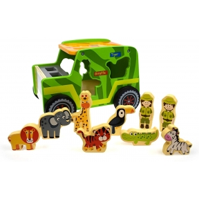 Tooky Toy TKF005 Wooden Safari Jeep Set
